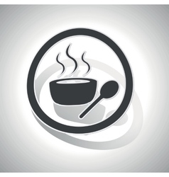 Hot soup sign sticker curved vector image vector image