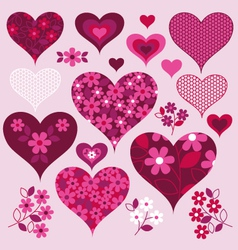 Lace and floral hearts vector