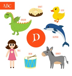 Letter D Cartoon alphabet for children Duck drum vector image