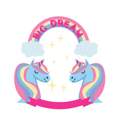 Magic unicorn and rainbow poster greeting card vector