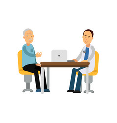 male therapist in uniform sitting behind table and vector image