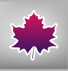 Maple leaf sign purple gradient icon on vector