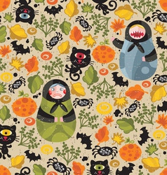 Matryoshka dolls and cat monsters vector