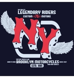 Motorcycle brooklyn t-shirt print vector