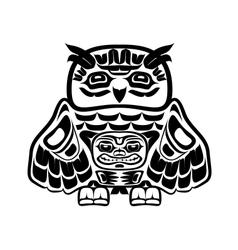 North american native art owl vector