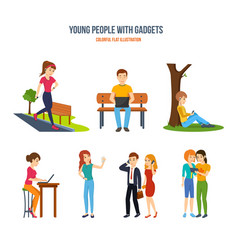 people with gadgets music work entertainment vector image