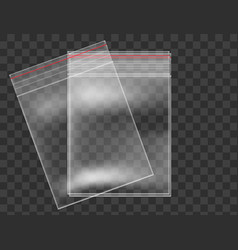 plastic bag set transparent background realistic vector image vector image