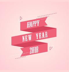 Retro pink new year card with ribbon vector