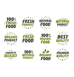 set labels Organic food tags and elements vector image vector image