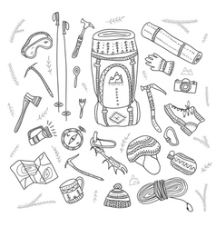 set of climbing equipment drawn in ethnic boho vector image