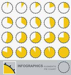 Set of the segmented circular charts with notches vector
