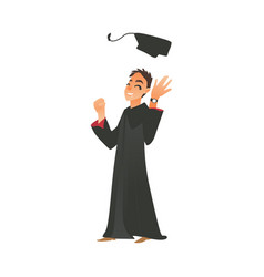 Smiling boy guy in graduation gown throwing cap up vector