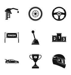 Speed race icons set simple style vector
