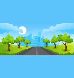 Summer landscape with city vector