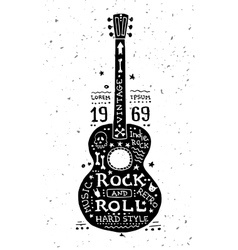 Vintage grunge label with guitar vector