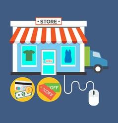 Web store online shop concept flat design stylish vector