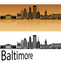 Baltimore skyline in orange vector