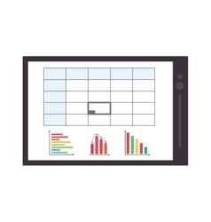 Graph chart on tablet screen icon vector