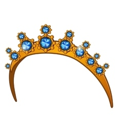 Golden crown with sapphires womens head accessory vector