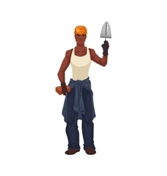 Full length young and handsome african bricklayer vector