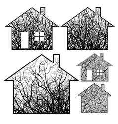 Eco houses vector