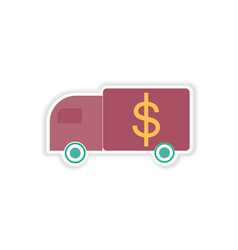 Stylish sticker on paper car and money vector