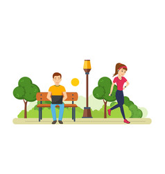 Guy behind laptop in park girl engaged athletics vector