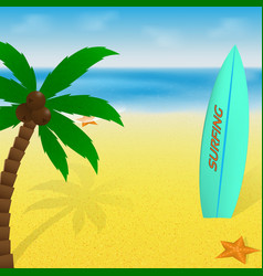 summer time vacation greeting card or banner palm vector image