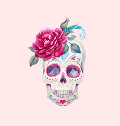 Nice watercolor skull vector