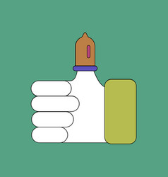 Flat icon design collection condom on finger vector