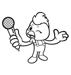 black and white cartoon rooster mascot holding a vector image