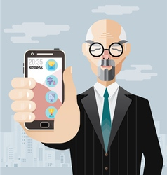 Old business man with smartphone vector