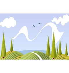 Cartoon summer fields and meadows landscape vector