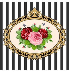 Vintage rose bouquet frame vector