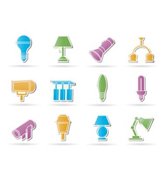 Different kind of lighting equipment vector
