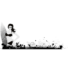 Girl surf grunge vector