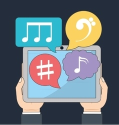 Tablet icon music online and technology vector
