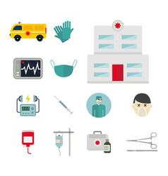 Ambulance icons medicine health emergency vector
