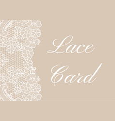 beige lace border card vector image vector image