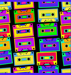 bright colorful retro cassette seamless pattern vector image vector image