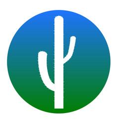 Cactus simple sign white icon in bluish vector