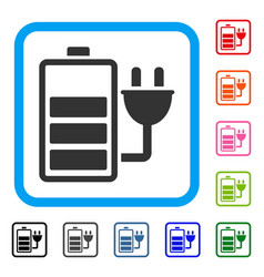 Charge battery framed icon vector