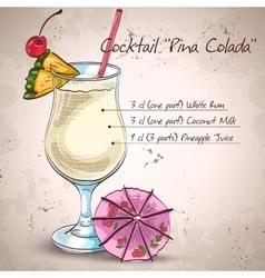 Cocktail pina colada vector