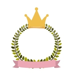 Colorful arch of leaves with label and crown vector