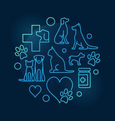 Colorful veterinary hospital circular symbol vector