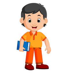 cute boy carrying book cartoon vector image