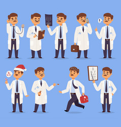 doctor man character different pose nursery vector image vector image