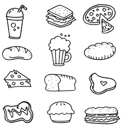 Doodle of food hand draw collection vector
