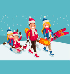 Family snow skiing people isometric cartoon vector