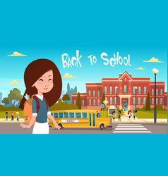 girl going back to school over group of pupils vector image